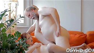 Lewd old dude teases young hottie