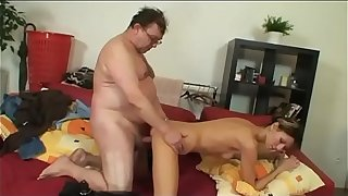 Young bitch fucking with a fat mature man