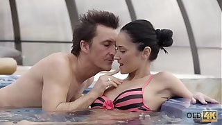 OLD4K. Old and young lovers have awesome sex after relax in jacuzzi