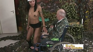 Grampa in a wheelchair gets to fuck a hot babe