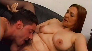 BBW Hairy Mature Woman with Younger Man