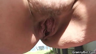 Old bitch blows and fucks him in the public