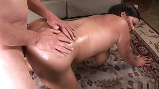 Chubby ebony girl fucked by old guy