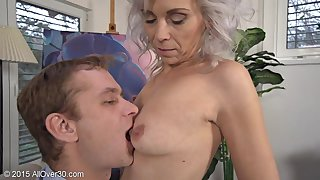 Flirtatious Greyhaired Milf Kathy Meets Young Suitor