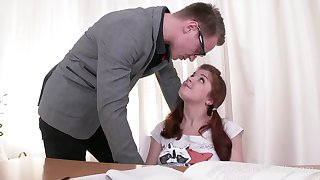 Disobedient Russian student Renata Fox lures bloke and gives a nice BJ