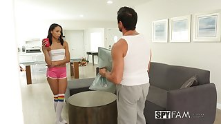 Naughty ungentlemanly Alexis Tae bangs her step daddy in move of hidden camera