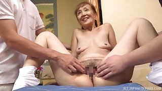 A remarkable trio Japanese simulate with a sexy granny