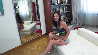 Brunette girl Alessandra Amore in shorts gets naked together with fucked