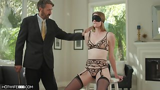 Grey husband fucks blind folded young fit together Ashley Lane plus cums on her face