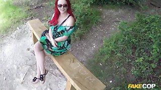 Amateur redhead floosie Jasmine James gives head in the public park