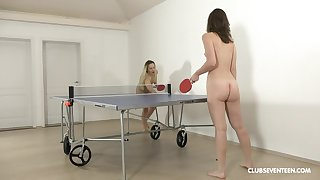 Pulling ping-pong players disrobe kick the bucket the game for girl-on-girl fun