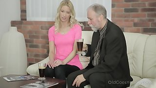Cute babe gives an old fart a felicitous fulfilling massage