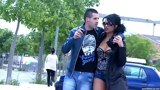 Natural tits Dunia Montenegro spreads their way legs for outdoor fuck