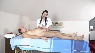 Accommodative babe gives massage to older man hale fucks him