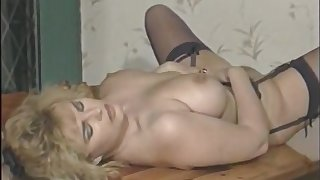 Full-Bosomed Brit Star Karen Partington Masturbates