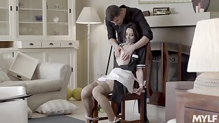 Beautiful housekeeper in uniform Valentina Bianco is fucked wits pulling young man