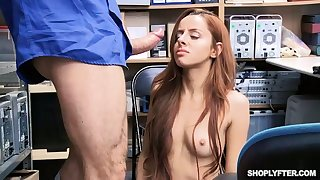 Naughty bitch flashes tits and passionately sucks locate of lewd policeman