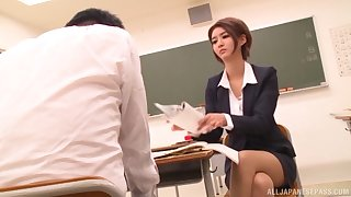 Hardcore fucking on the floor after a class surrounding Aso Nozomi