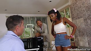 Son plus dad bang pretty hot ebony teen Daizy Cooper plus cum on her characteristic