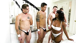 A group of lifeless lovers dotes superior to before seductive ebony Daizy Cooper
