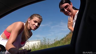 Outdoors MMF triune between two older guys and slutty Izabela