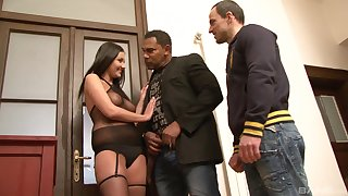Tanned brunette works magic with her tight pussy in rough troika