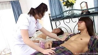Handsome Japanese nurse gets her pussy fucked from secretly