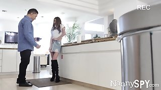 Husband added to babysitter hidden camera video at hand HD quality