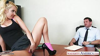 Pretty teen secretary Aaliyah Love seduces her boss with the addition of sucks his penis
