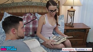 Sister's nerdy friend Kacy Ambitiousness turned out to loathing a good cock sucker