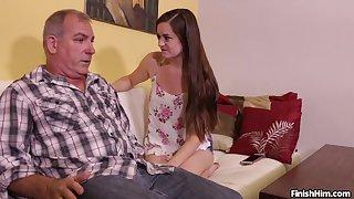 Energized teen rubs grandpa's dick like she's a whore