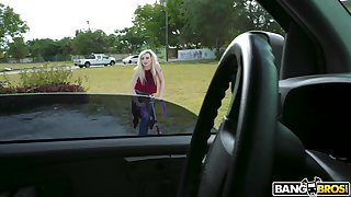 Pale blonde amateur Lexi Lore gets picked up increased by fucked by a stranger