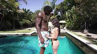 Gorgeous outdoor sex scenes by the pool uncommitted a petite girl and a black stud