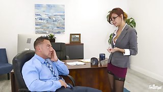 Bossy milf Jade Jantzen flashes their way panties and seduces young employee Johnny