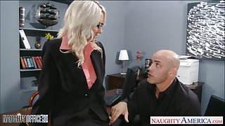 Of course dispirited MILF secretary in glasses is ready for wild doggy in the office