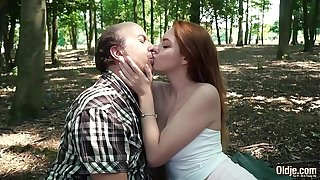 Horny young teen hardcore fucked by old man and she gives a wet deepthroat blowjob then takes cumshot in her mouth