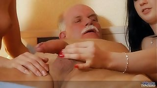2 Young slutty maids fucks the old servant