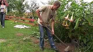 Cock Hungry Mom Fucks Her Young Gardener Outdoors