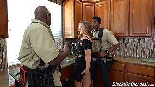 Two black dudes with massive dicks DP slutty babe Febby Twigs