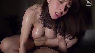 Busty Mishima Natsuko gives a blowjob and rides a bogus dig up